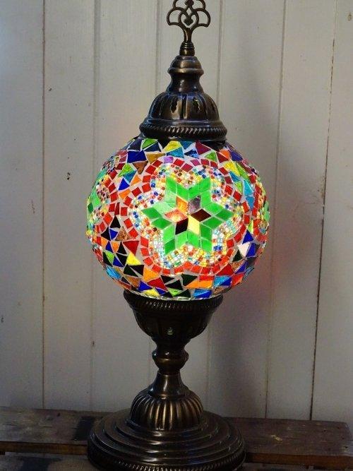 Green Star Turkish mosaic table lamp light on