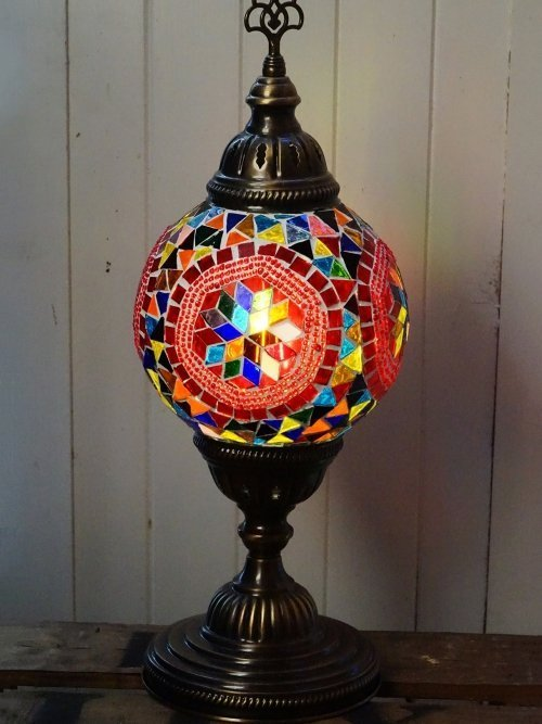 Hexi Turkish mosaic table lamp light on