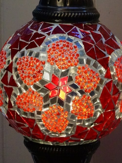 Red Turkish mosaic table lamp close up