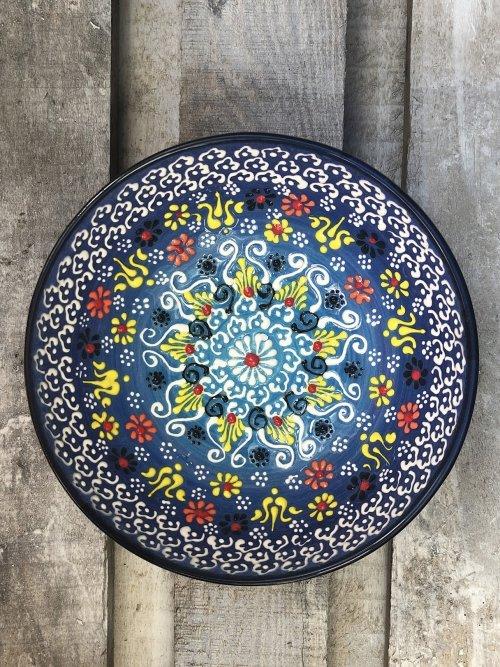 20cm Hand painted Turkish ceramic dipping bowl dark blue to light blue