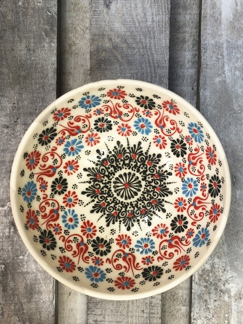 20cm Hand painted Turkish ceramic dipping bowl white with red accents