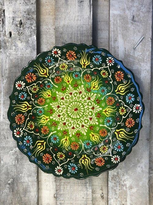 30cm Hand painted Turkish ceramic platter dark green to light green