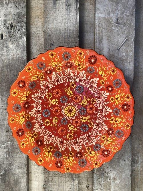 30cm Hand painted Turkish ceramic platter orange to red