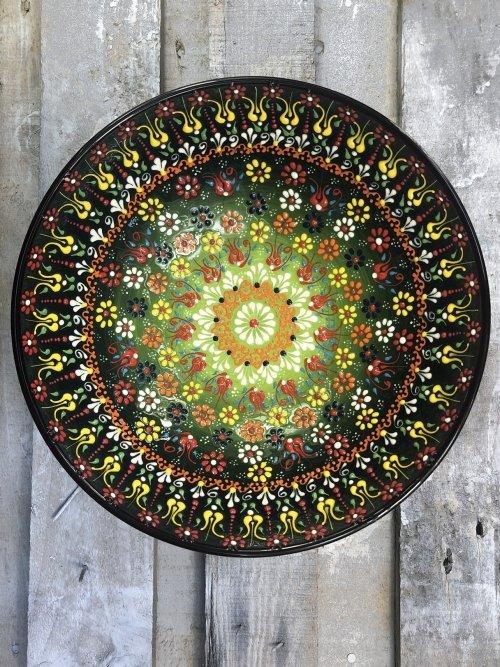30cm Hand painted Turkish ceramic salad serving bowl dark green to light green