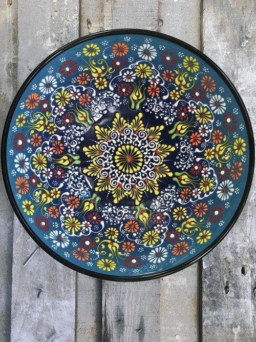 30cm Hand painted Turkish ceramic salad serving bowl light blue to dark blue