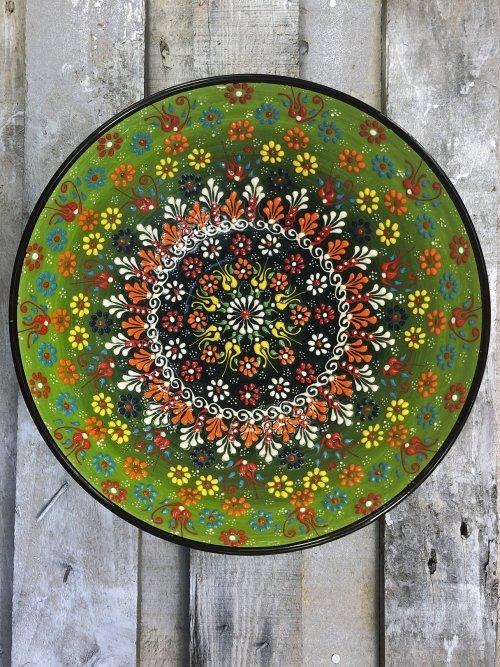 30cm Hand painted Turkish ceramic salad serving bowl light green to dark green