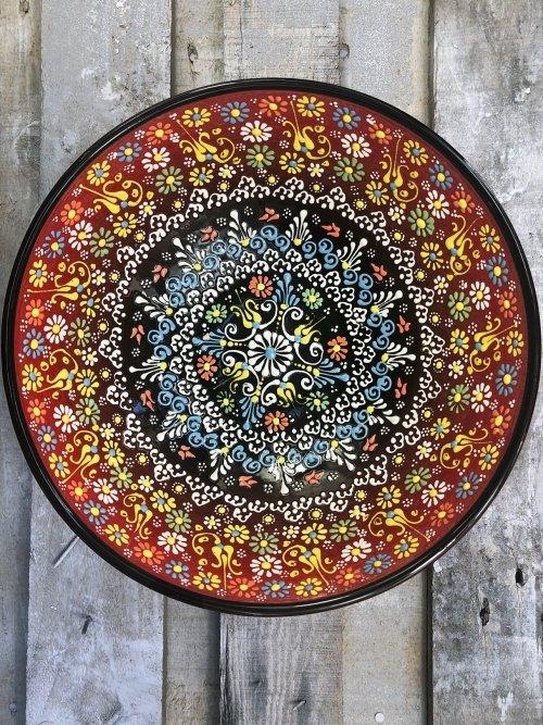 30cm Hand painted Turkish ceramic salad serving bowl red to black