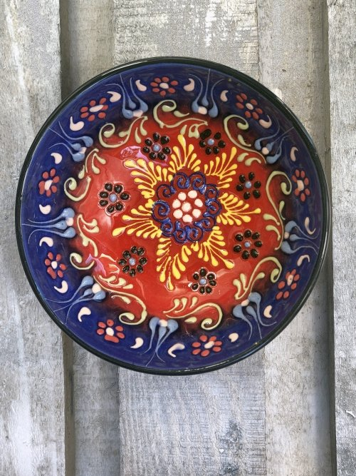 15cm Hand painted Turkish ceramic dipping bowl haze blue