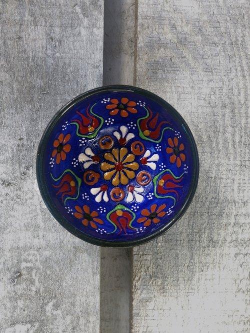 5cm Hand painted Turkish ceramic dipping bowl dark blue
