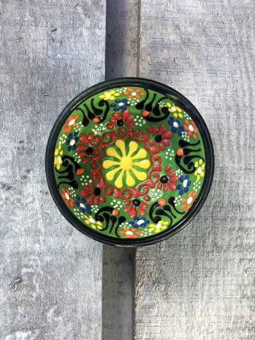 5cm Hand painted Turkish ceramic dipping bowl light lime green