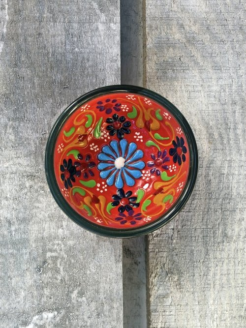 5cm Hand painted Turkish ceramic dipping bowl red