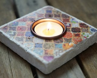Travertine Candle Holder #48 square