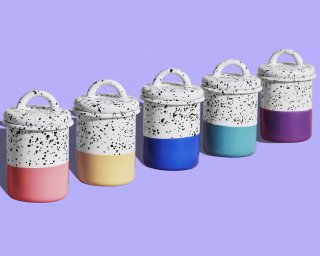 Group of Retro Enamel Canisters