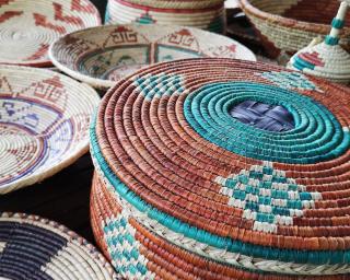 Group of handmade wicker baskets