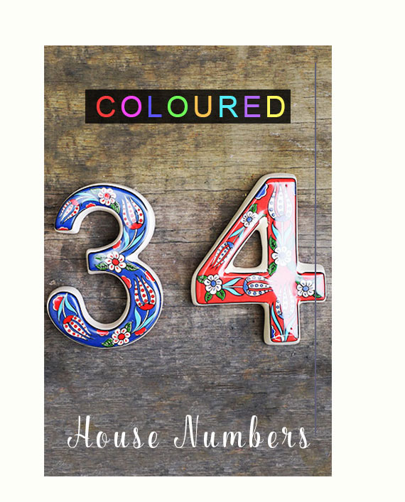 ceramic coloured house numbers