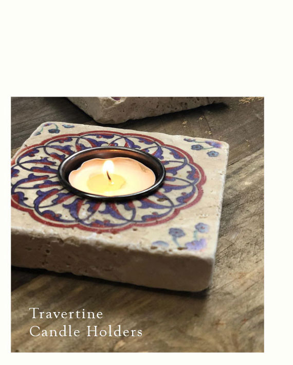 Travertine candle holders