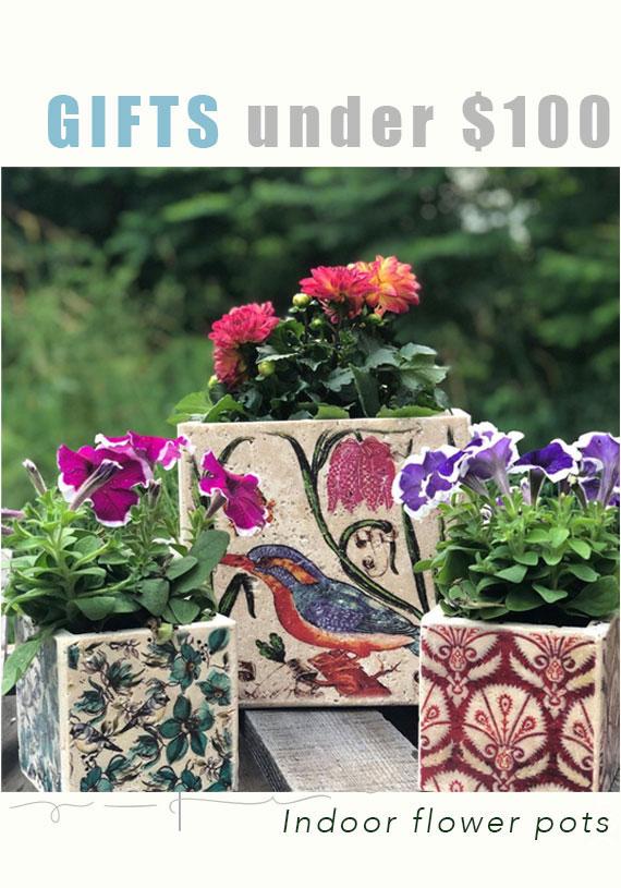 Travertine flower pots